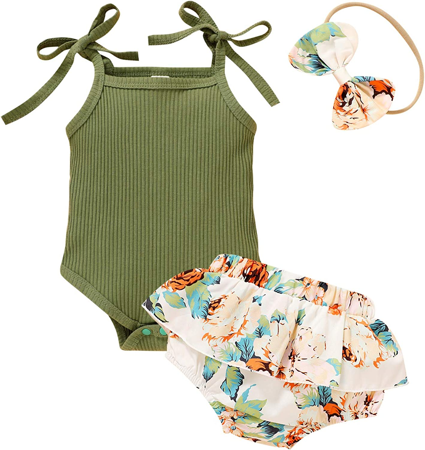 Little MISS Sassy Newborn Girl Summer Outfits Straps Romper and Ruffled Shorts Set Baby Girl Clothing