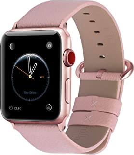 Fullmosa Compatible with Apple Watch Band 38mm 40mm 42mm 44mm, Yan Series Lichi Calf Leather Strap Band Compatible with iW...