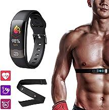 Jiandi Heart Rate Monitor Watch with Chest Strap SPO2 Blood Oxygen Monitor Fitness Tracker, Blood Pressure Wrist Band HRV ...