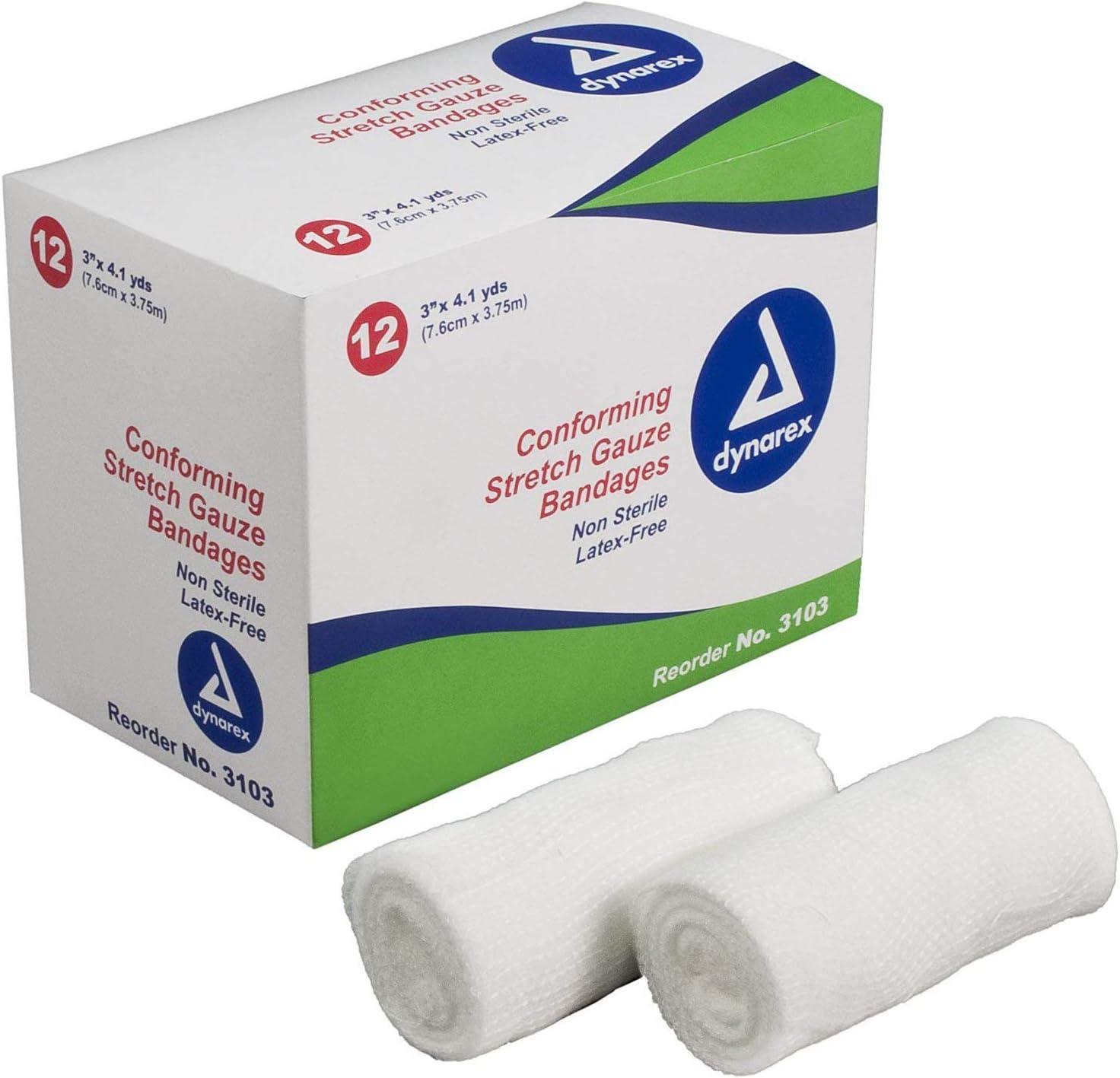 Dynarex Stretch Gauze Bandage Roll Box Non-Sterile 3