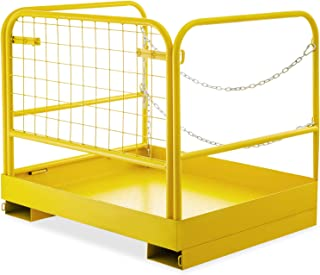 BestEquip Forklift Safety Cage Aerial Rails 36x29 Inch Forklift Safety Cage Work Platform Heavy Duty Steel Construction Fold Down Lift Basket 750 LBS Capacity