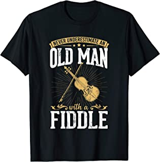 Never Underestimate An Old Man With A Fiddle Design Musical T-Shirt