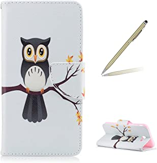 Trumpshop Smartphone Protective Case for Samsung Galaxy J7 (2017) SM-J727 [Cute Owl] Premium PU Leather Flip Wallet Cover Bookstyle Shockproof [Not compatible with J7 (2016)]