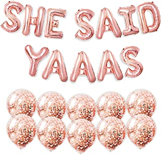 PartyForever SHE Said Yaaas Bachelorette Party Balloons Rose Gold 16