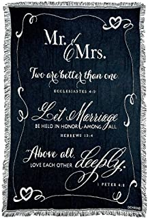 Dicksons Mr. and Mrs. 1 Peter 4:8 Black and White 52 x 68 All Cotton Tapestry Throw Blanket