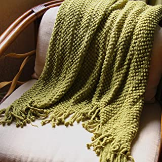 """PAN'S ROOM Knitted Throw Soft & Cosy Blanket for Cough Sofa Bed travel-50""""x70"""", (Olive)"""