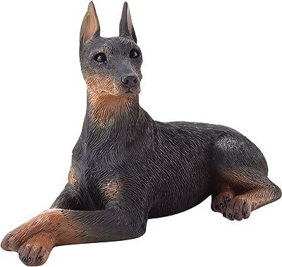 Sandicast Small Size Black Doberman Pinscher Sculpture, Lying
