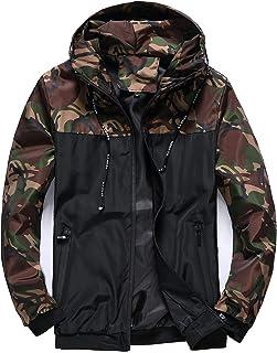 Rompevientos con capucha para hombre ligero a prueba de viento de secado rápido con cremallera camuflaje
