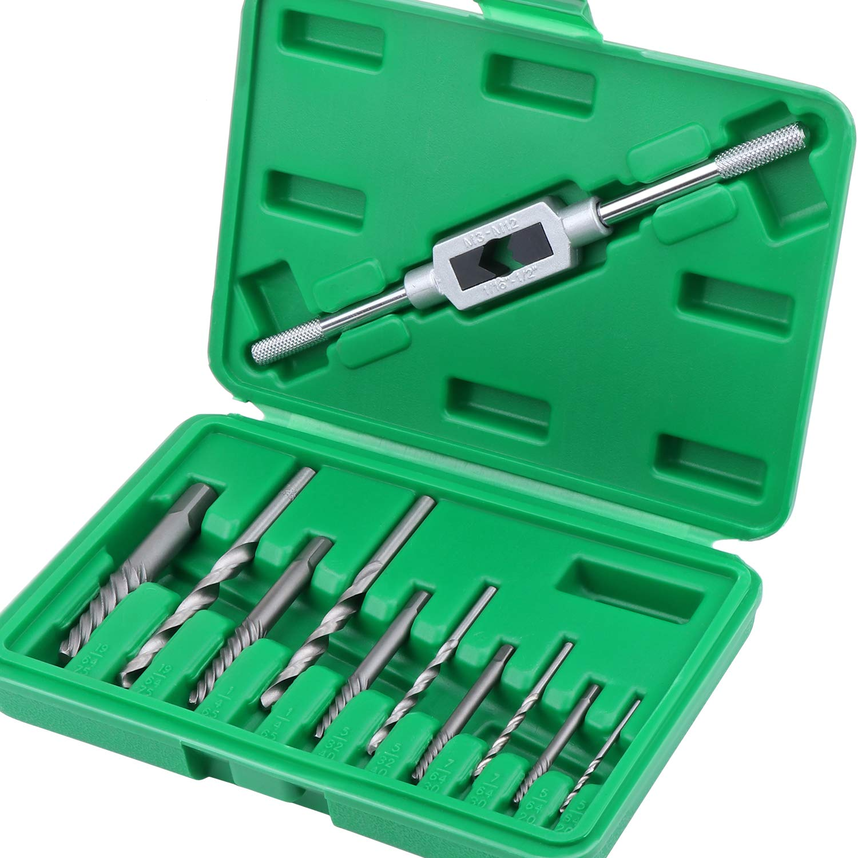 HSEAMALL Juego de extractores de tornillos dañados, 11 piezas, brocas de tornillo roto, herramienta de extracción de tornillos Fastners con llave de sujeción