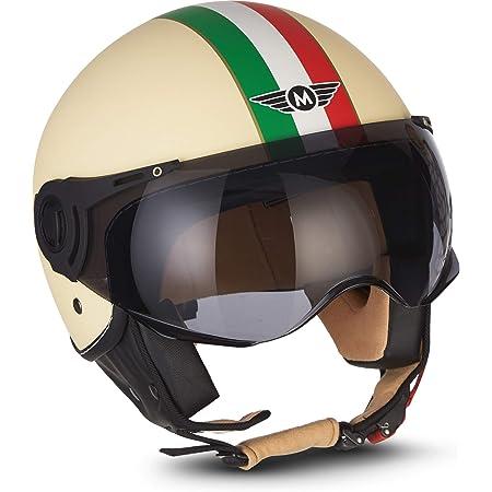 Moto Helmets H44 Venice Creme Jet Helm Motorrad Helm Roller Helm Scooter Helm Bobber Mofa Helm Chopper Retro Cruiser Vintage Pilot Biker Helmet Ece Visier Schnellverschluss Tasche M 57 58cm Auto