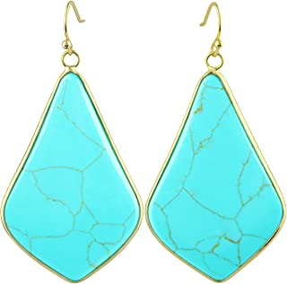 SUNYIK Women's Large Rhombus Stone Crystal Dangle Drop Earrings Teardrop/Oval