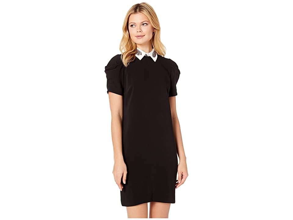 LAUREN Ralph Lauren Brooch Crepe Shift Dress (Polo Black) Women