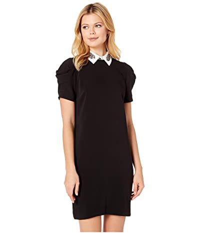LAUREN Ralph Lauren Brooch Crepe Shift Dress (Polo Black) Women