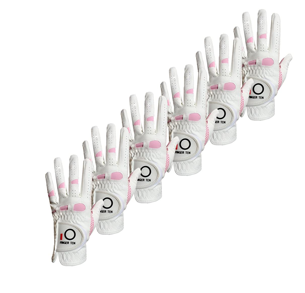 FINGER TEN Women's Golf Gloves Ladies Left Hand Right Value 6 Pack, All Weather Extra Grip Lh Rh, Size Fit Small Medium Large XL