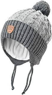 Toddler Boys Fleece Lined Knit Beanies hat with Earflap Kids Warm Fur Pom Pom Winter hat