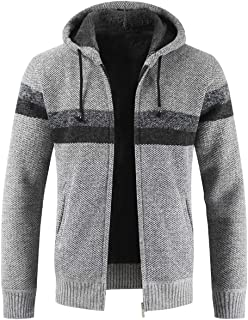 Mens Knitted Cardigan Hoodie Sweater Chunky Knitwear Jumper Full Zip Autumn Winter Coat