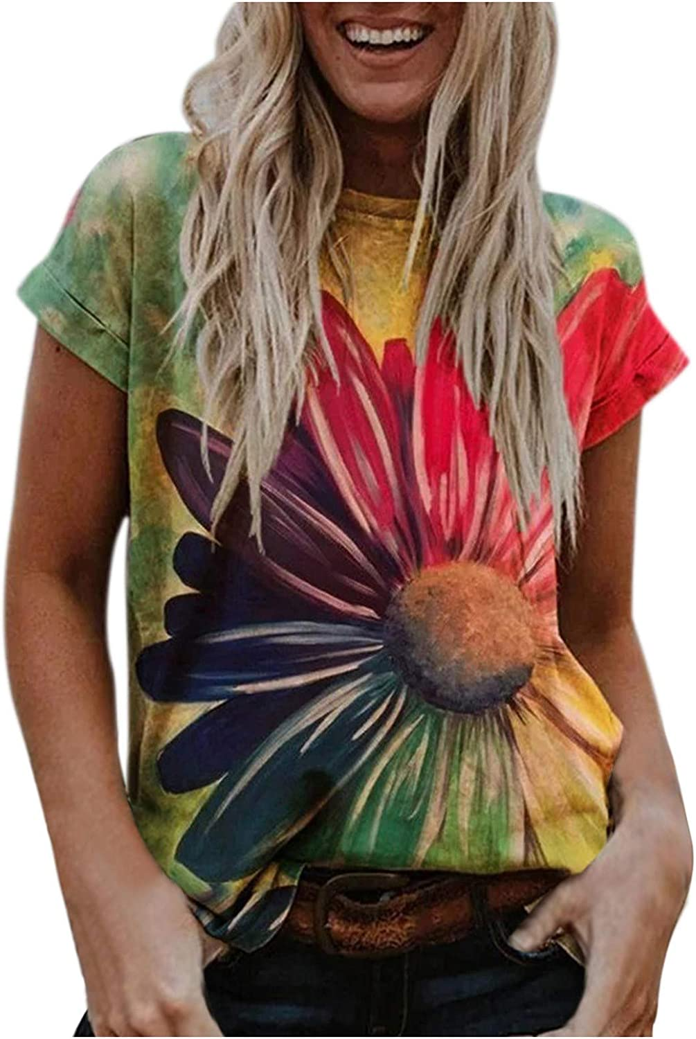 Aukbays T-Shirts for Women Flower Printed Short Sleeve Tops Summer Round Neck Loose Fit Tees Blouses Shirts