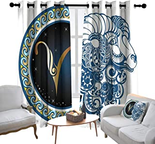 Blackout Curtains Zodiac,Astrological Aries Symbol with Horned Head Ram Goat Animal Terrestrial Event Image,Blue Gold,Thermal Insulated Panels Home Décor Window Draperies for Bedroom 84