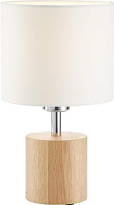 Brilliant Plant Lampe de table ronde en bois Chêne blanc 60 W