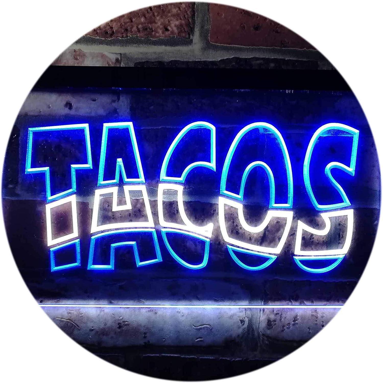 ADVPRO Mexican Tacos Restaurant Bar Dual Farbe LED Barlicht Neonlicht Lichtwerbung Neon Sign Weiß & Blau 400mm x 300mm st6s43-i0093-wb
