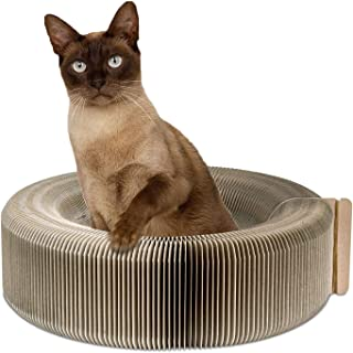PAWABOO Cat Scratcher Lounge Bed - Premium Recycled Corrugated Cardboard Scratching Post Toy Pad Lounge Square Round Bed with Catnip for Cat Kitty Kitten