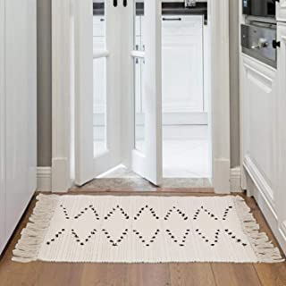 Moroccan Cotton Area Rug 2' x 3', KIMODE Woven Cream and Black Chic Diamond Tassels Throw Rugs Machine Washable Fringe Area Rugs Runner for Bathroom,Bedroom,Living Room,Laundry Room Kitchen Rug