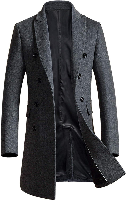Michealboy Men's Formal Pea Coat Wool Blend Peaked Lapel Single Breasted Slim Fit Trench Jacket