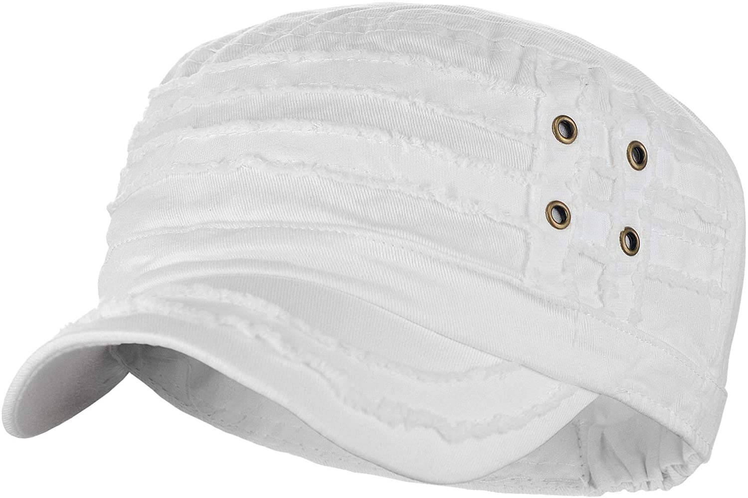 D&Y Unisex Cotton Distressed Layered Frayed Cadet Military Cap