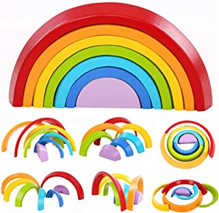 Lewo 7 st Trä Rainbow lärande leksak Geometri byggstenar Pedagogiskt pusselleksak (Rainbow Stacker)