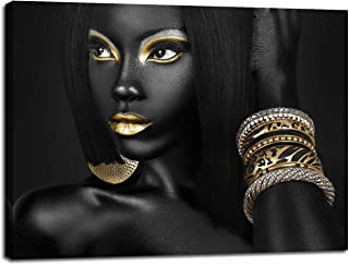 Artbrush Tower African American Black Woman Portrait Picture for Living Room Wall Decor Canvas Art Golden Beauty Model Poster Painting Office Hallway Bedroom Decorations Ready to Hang(20''Wx28''H)