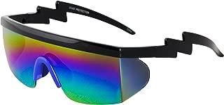 Semi Rimless Goggle Style Retro Rainbow Mirrored Lens ZigZag Sunglasses