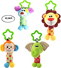 RichChoice Animal Baby Hanging Rattle Toys Set:Dog Monkey Elephant Lion Toys for Stroller,Car Seat,Crib Bed,Travel; 1-3-6-12 Month,1-2 Years Old Toys with Crinkle Ears ,Bell Rattle