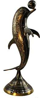 Natural Geo Brass Dolphin Figurine Décor