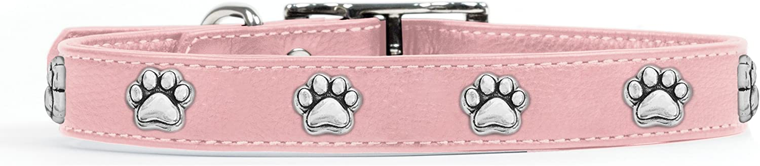 Rockin' doggie Paw Rivets Leather Dog Collar, 1 2 by 12Inch, Pink