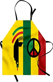 Ambesonne Rasta Apron, Iconic Barret Reggae and Jamaican Music Culture with Peace and Borders, Unisex Kitchen Bib with Adjustable Neck for Cooking Gardening, Adult Size, Red Yellow