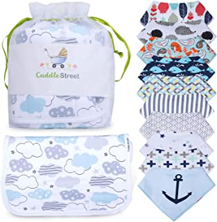Bandana Bibs for Boys and Burp Cloth Set - Organic Cotton - Soft and Absorbent - Baby Shower Gift - Teething Drool Bibs - Newborn and Toddlers
