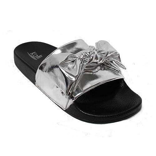 4200373f003408 Kali Footwear Womens Satin Bow Ribbon Tie Knotted Soft Comfort Slip on Slide  Sandal