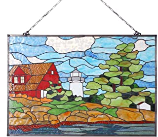 Bieye W10010 Seaside Scenery Red House White Lighthouse Green Tree Tiffany Style Stained Glass Window Panel Hangings with Chain, 30