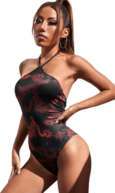 Romwe Women's All Graphic Print Sleeveless Open Back Halter Cami Bodysuit Tops