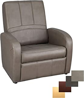 RecPro Charles RV Gaming Chair Ottoman Conversion | Built-in Storage | RV Furniture | Putty