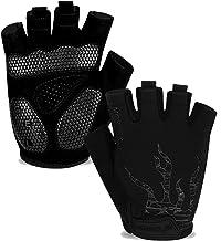 MOREOK Mens Cycling Gloves,Half Finger Biking Glove MTB DH Road Bicycle Gloves Gel Pad Shock-Absorbing Anti-Slip Breathabl...