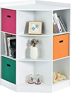 Costzon 9-Cubby Kids Bookcase with Extra Large Storage Baskets, Multi-Bin Children`s Corner Cabinet with 6 Cubes and 3 She...