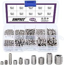 Swpeet 350 Pcs Stainless Steel Allen Head Socket Hex Grub Screw Assortment Kit, Including 10 Sizes M3/4/5/6/8 Stainless Steel Internal Hex Drive Cup-Point Set Screws for Door Handles