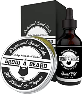 Beard Balm & Oil Grooming Kit   Sandalwood Scent Beard Balm Leave-in Conditioner & Softener for Men Care   Unscented Beard Oil Great for Smooth & Moisturize   Natural & Organic w/ Argan & Jojoba Oils