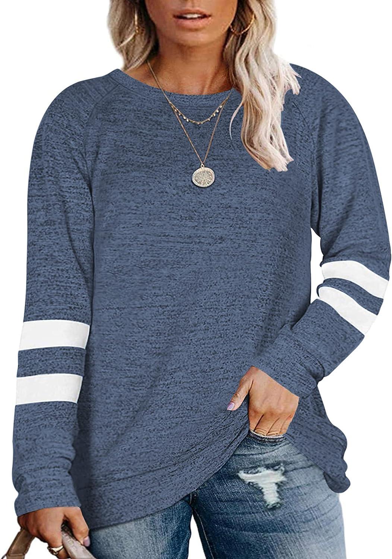 PLOKNRD Women's Plus Size Sweatshirts Casual Long Sleeve Round Neck Oversized Tunic Tops