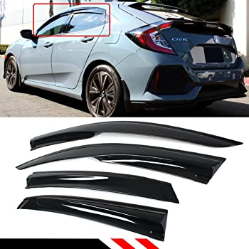 Amazon Com Cuztom Tuning Fits For 2016 2020 Honda Civic Fk4 Fk7 Fk8 5dr Hatchback Lx Ex Touring Sport Type R 3d Wavy Jdm Mug Style Window Visor Rain Guard Deflector Automotive