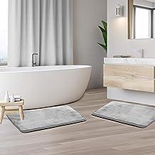 "Clara Clark Memory Foam Bathrug 2 Pack Set - Silver - Bath Mat and Shower Rug Small 17"" x 24"" Inches, Non Slip Latex Free ..."