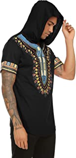 Mens African Print Dashiki Shirts Short Sleeve Pullover Hoodie Top