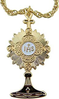 Minister Bishop Gift 1 3/4 Inch Gold Tone Over Pewter Monstrance Latin Cross Pectoral Pendant with 24 Inch Chain Necklace