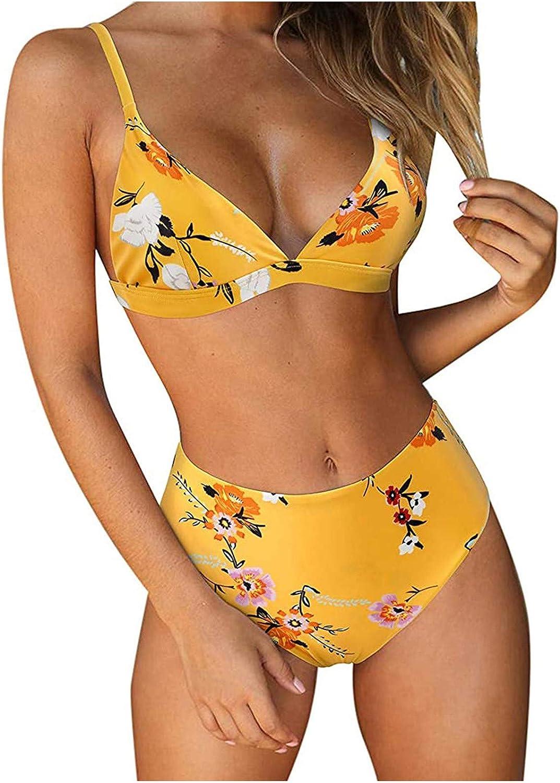 Women's Bikini String Triangle Halter 2 Piece Beachwear Checkered Halter High Cut Bikini Bathing Suits Swimsuits